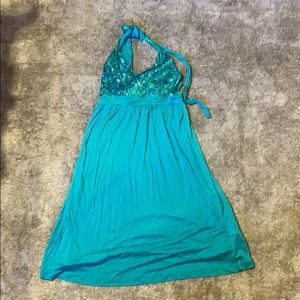 teal dress that ties over the neck